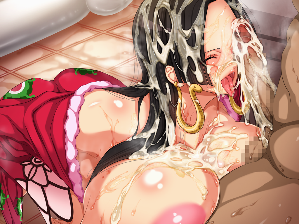 Toon sex pic ##0001301259748 areolae black hair blush boa hancock breasts censored cum cum on body cum on breasts cum on hair cum on upper body earrings eyess closed facial g kilo-byte highres huge breasts jewelry long hair no bra nude one piece open clothes open mouth penis saberfish saliva sitting sweat testicles tongue tongue out