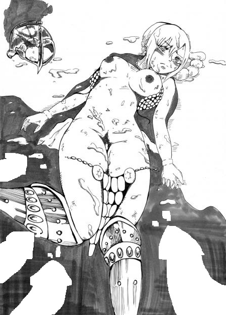 Toon sex pic ##0001301497092 armor blush braid breasts bukkake cape cum cum on breasts cum on lower body cum on upper body facial female female frown greyscale helmet lying monochrome nipples on back one piece rebecca (one piece) solo torn clothes