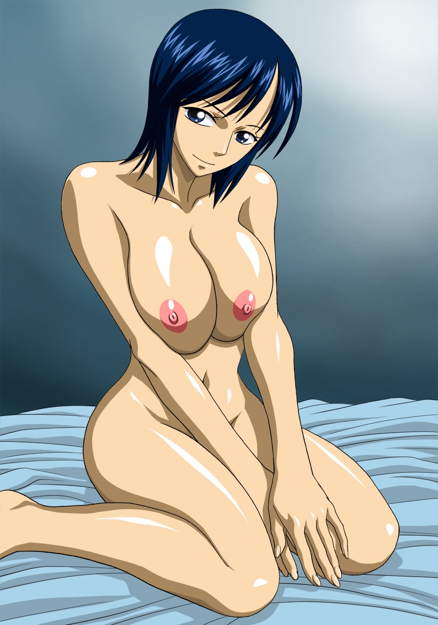 Toon sex pic ##000130805631 blue eyess blue hair breasts kneeling nel-zel formula nipples nude one piece tashigi