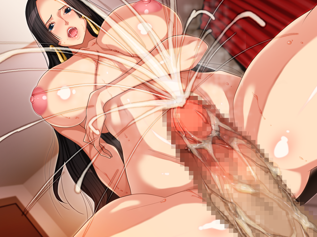 Toon sex pic ##0001301259710 areolae black hair boa hancock breasts censored cum earrings g kilo-byte huge breasts jewelry long hair nude one piece penis pussy saberfish spread legs sweat vaginal penetration vaginal penetration