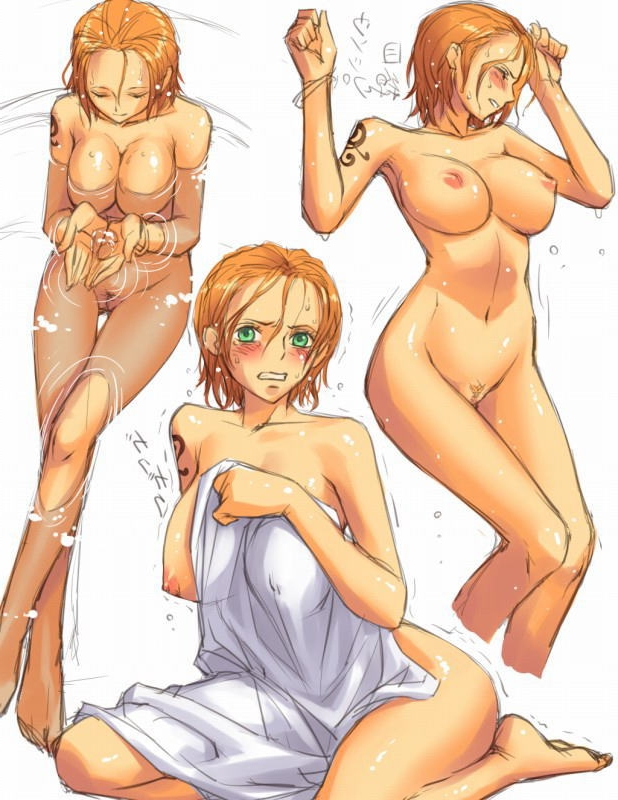 Toon sex pic ##000130743360 barefeet blush breasts clenched teeth closed eyess crossed legs duplicate floating breasts from above green eyess huge breasts mosha naked towel nami nipples nude one piece orange hair pubic hair pussy short hair sitting sketch solo sweat tattoo towel translated trembling water