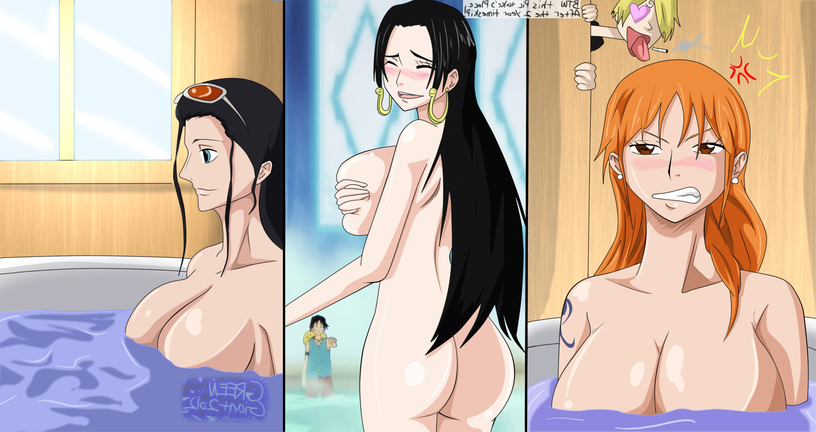 Toon sex pic ##0001301448700 ass bath bathing big breasts black hair boa hancock breasts color female greengiant2012 hair human indoors male monkey d luffy multiple females multiple males nami nico robin nude one piece orange hair sanji
