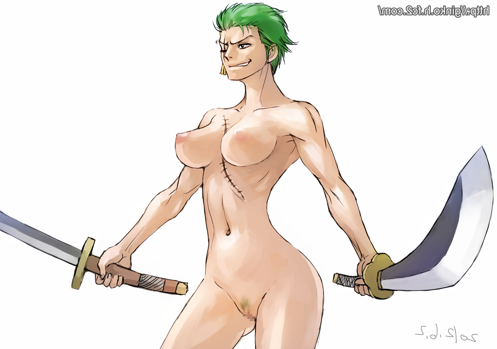 Toon sex pic ##0001301216328 areolae ass breasts censored dated dual wielding earrings female ginko (silver fox) green hair grin hips jewelry katana large breasts legs looking away muscle nipples nude one piece perky breasts pubic hair pussy roronoa zoro rule 63 scar short hair smile smirk solo standing sword watermark weapon what white background