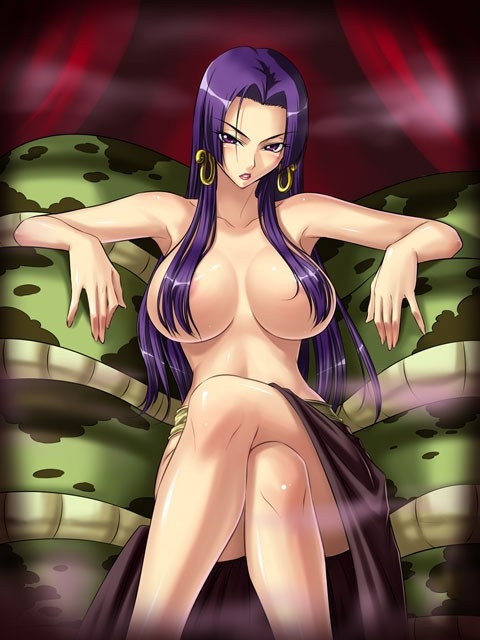 Toon sex pic ##000130681290 alternate hair color boa hancock breasts censored convenient censoring crossed legs earings earrings hair over breasts jewelry kagami large breasts legs crossed long hair nipples one piece purple eyess purple hair salome (one piece) sitting snake topless