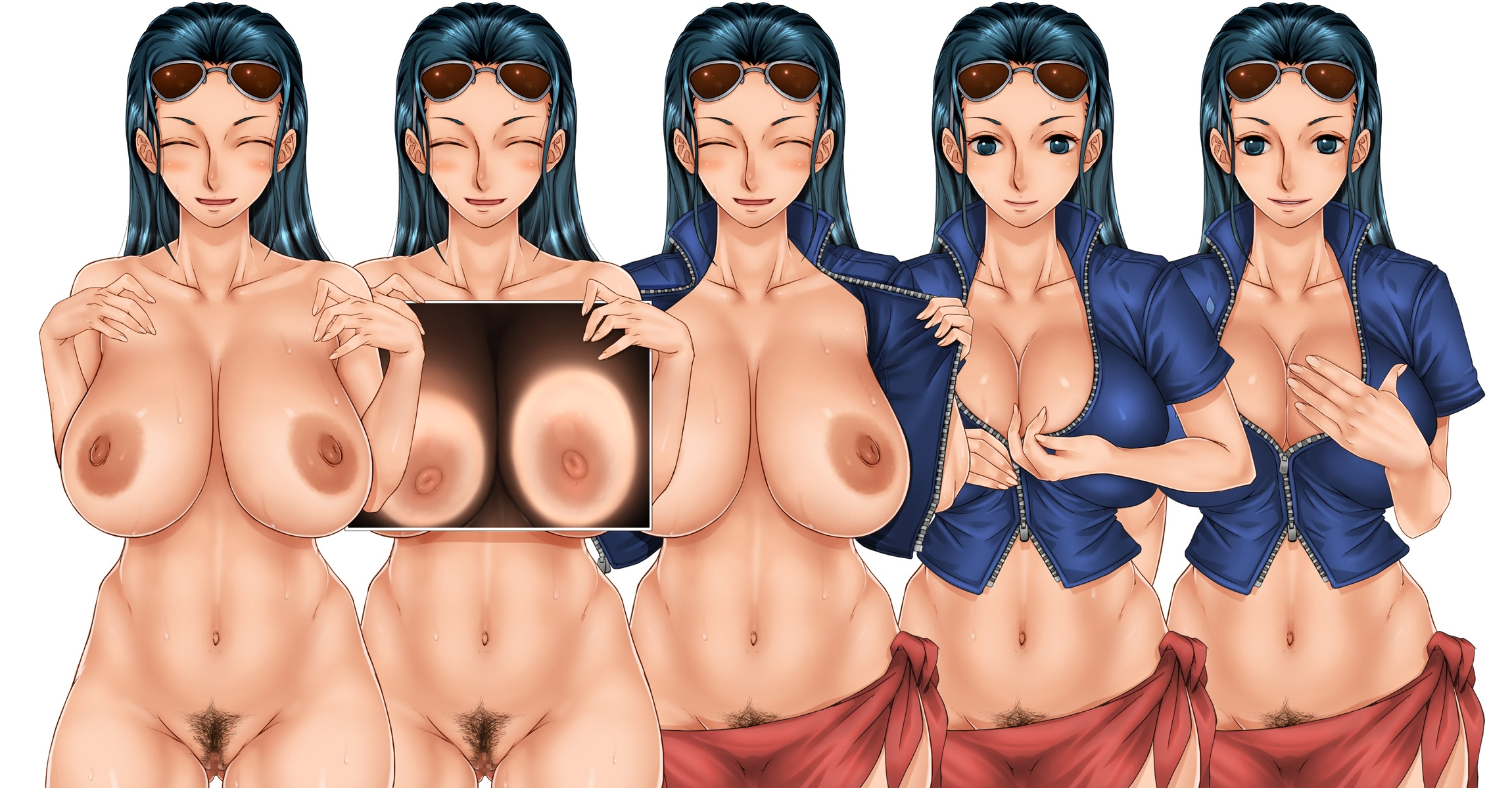 Toon sex pic ##0001301459031 areolae black hair blue eyes blush breasts censored cleavage closed eyes female highres hips large breasts legs long hair nico robin nipples one piece open clothes open mouth pubic hair pussy sakuradou simple background smile standing sunglasses sweat thighs undressing white background