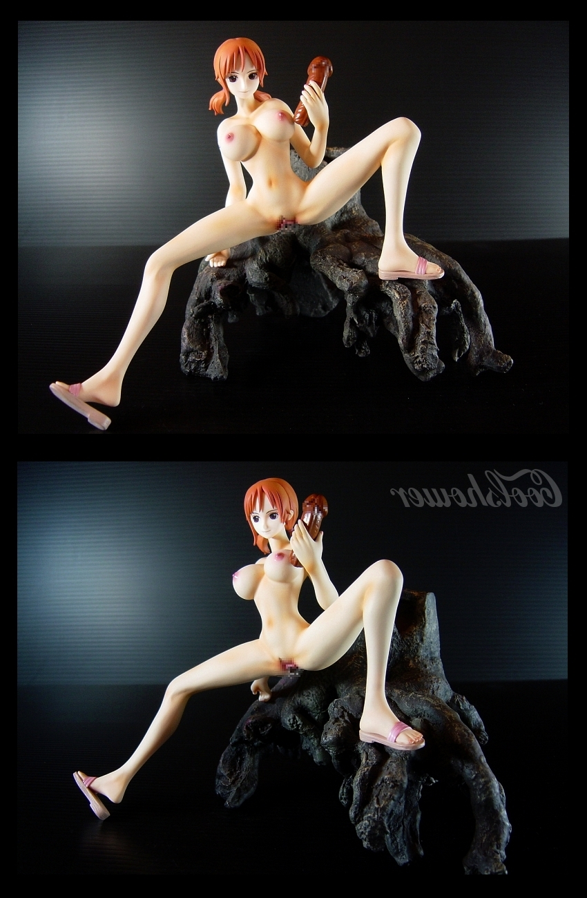 Toon sex pic ##000130623187 female breasts censored dildo erect nipples figure highres large breasts nami nipples nude one piece orange hair pussy sandals shoes short hair solo