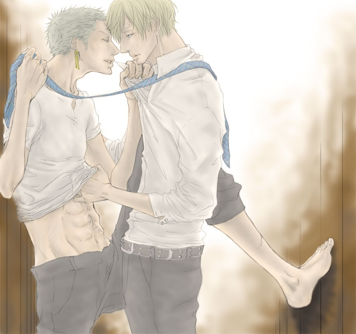 Toon sex pic ##0001301433043 2boys abs against wall blonde hair gay green hair male male only multiple boys necktie one piece roronoa zoro sanji scar short hair undressing yaoi
