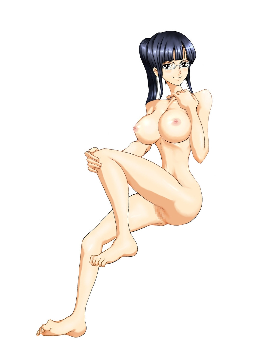 Toon sex pic ##000130550684 ass barefeet blush breasts censored glasses knee hold leg lift nico robin nipples nude one piece one piece film: strong world pussy sideburns single braid sitting smiling
