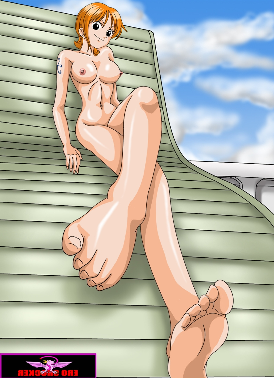 Toon sex pic ##000130541588 barefeet breasts covering ero shocker feet foreshortening highres large breasts nami nipples nude nude cover one piece orange hair smile toes
