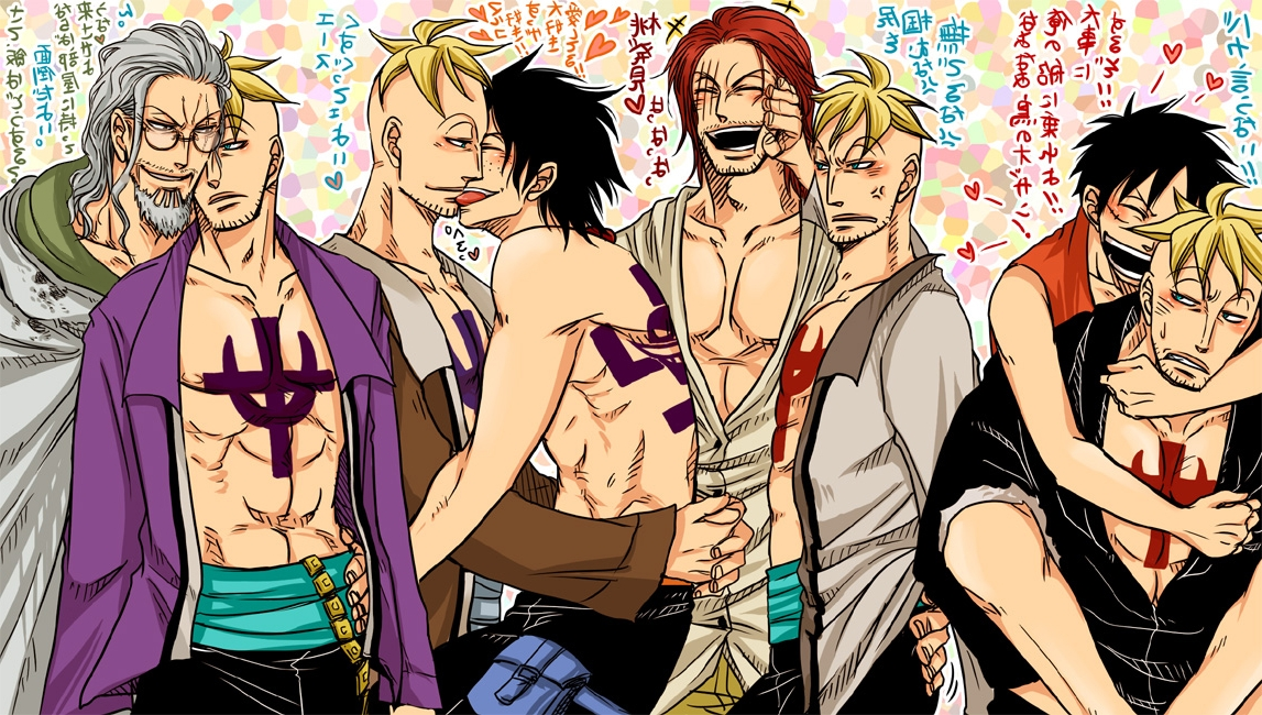 Toon sex pic ##0001301433006 6+boys abs black hair blonde hair clothed freckles gay hug male male only marco monkey d. luffy monkey d luffy multiple boys multiple persona muscle one piece open clothes open shirt portgas d. ace portgas d ace red hair shanks silvers rayleigh smile tattoo white hair yaoi