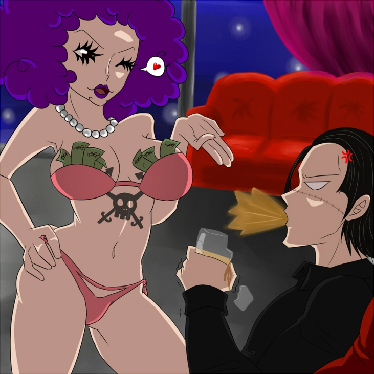 Toon sex pic ##000130500888 beige skin black hair bra clothes color curly hair drink emporio ivankov female hair hand on hip heart holding human indoors looking at another male money navo necklace night one piece open eyes open mouth panties pearl necklace purple hair round ears rule 63 scar short hair sir crocodile sitting spitting standing tattoo wink