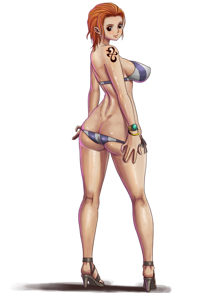 Toon sex pic ##000130431055 bikini blush bracelet breasts butt crack forehead from behind high heels highres jewelry knee pit kneepits large breasts log pose nami oil one piece orange hair shiny shiny skin shoes side-tie bikini simple background solo sueyuu swimsuit tattoo thighs