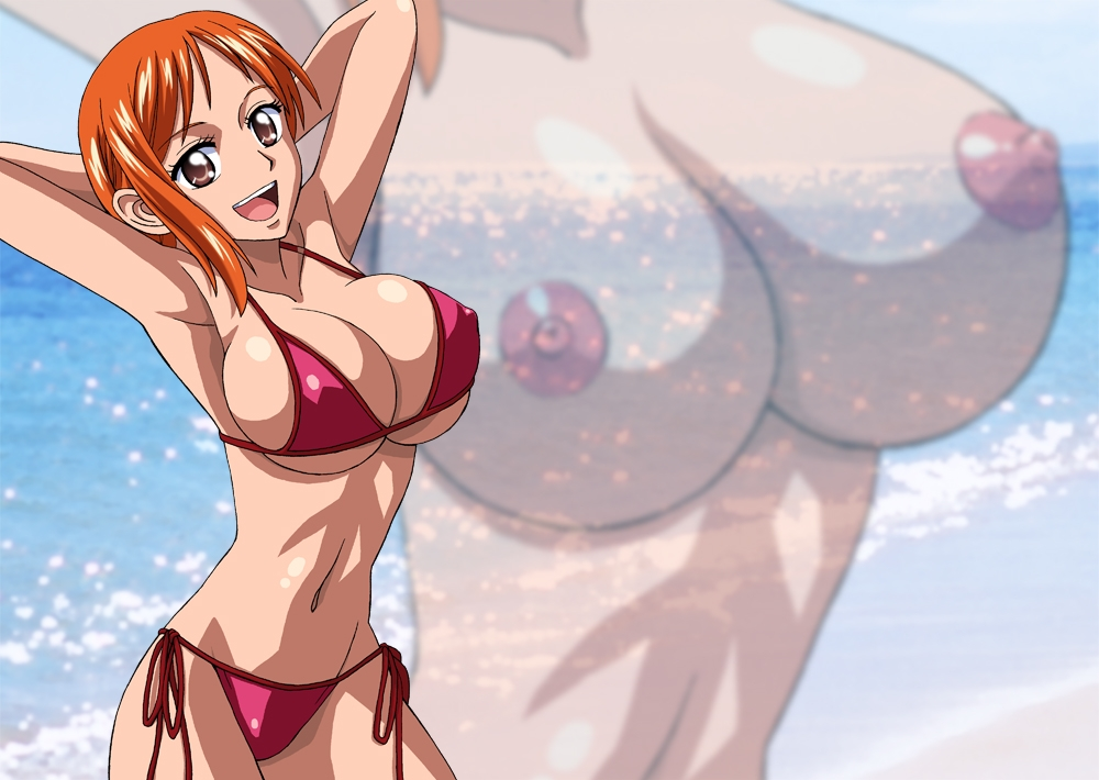 Toon sex pic ##000130413217 female armpits arms behind arms behind back arms up bikini breasts nami navel nel-zel formula one piece orange hair side-tie bikini swimsuit zoom layer