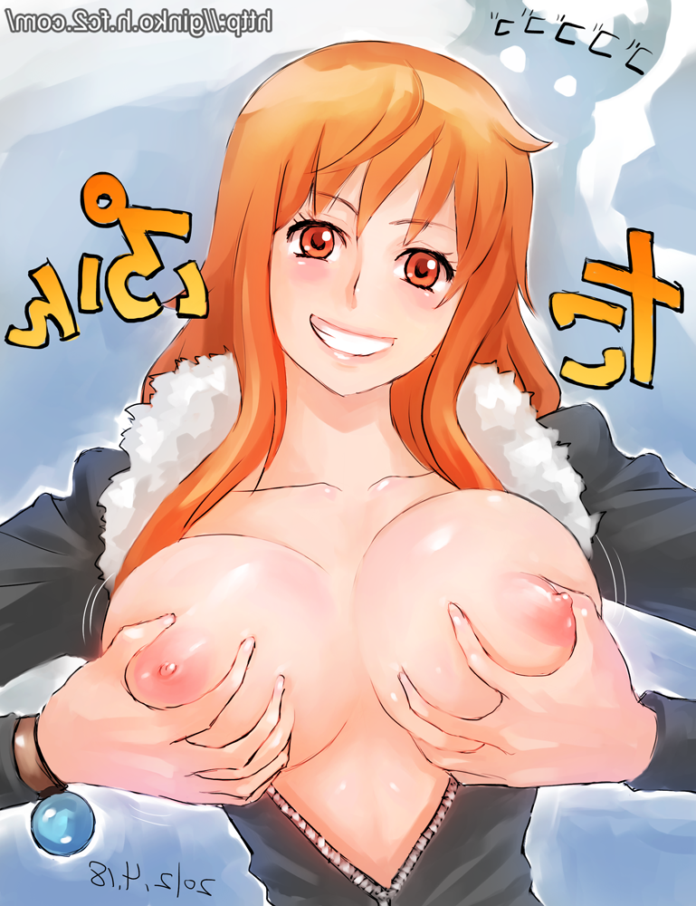 Toon sex pic ##000130994143 bracelet breast grab breasts brown eyes ginko (silver fox) grin happy jewelry large breasts lips log pose long hair nami nico robin (cosplay) nipples one piece orange eyes orange hair possession sanji self fondle smile unzipped