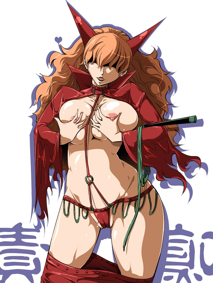 Toon sex pic ##000130380414 breast hold breast lift breasts brown hair cameltoe g-string hair over eyes heart horns huge breasts long hair midriff mound of venus nipples one piece open clothes open shirt orange hair panties red panties sadi-chan sato (pixiv956274) satomi sato shirt thighs underwear undressing very long hair whip