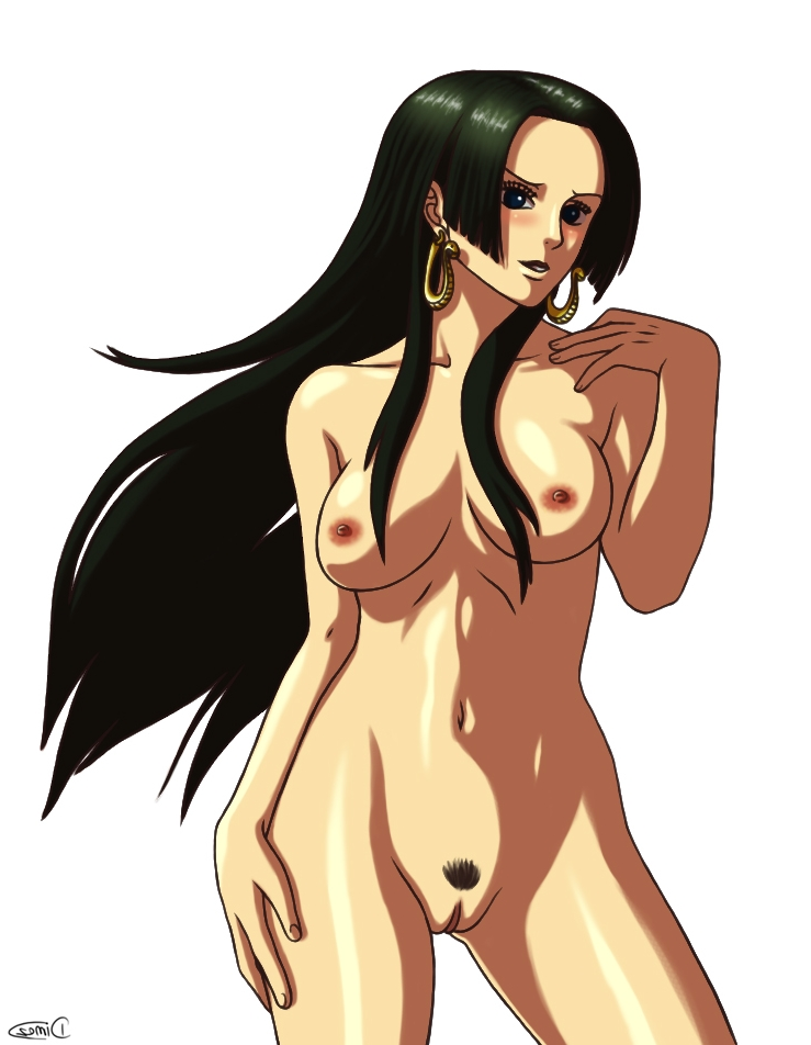 Toon sex pic ##000130378076 black hair blue eyes blush boa hancock breasts earrings female hand on hip kasugokage88 long hair nipples one piece parted lips pubic hair pussy simple background smile solo standing white background