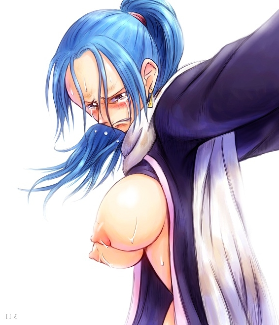 Toon sex pic ##000130330161 blue hair blush bonnie (artist) bonnie (rsg) breasts earrings frown jewelry large breasts nefertari vivi nipples one piece open clothes ponytail solo tear