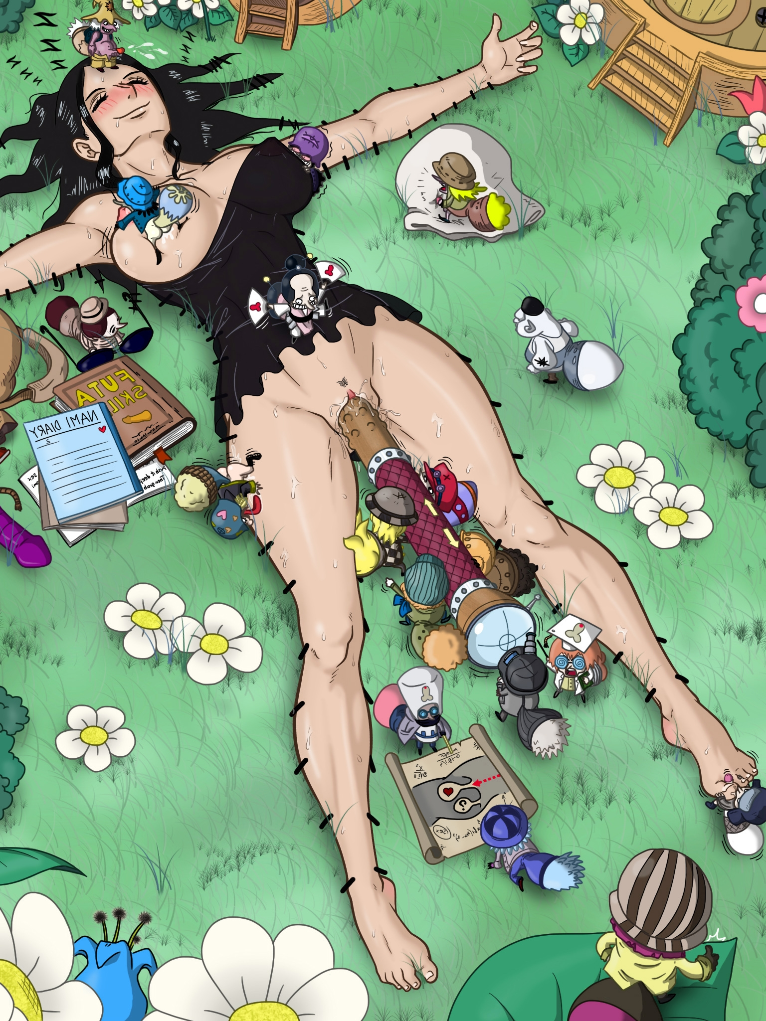 Toon sex pic ##0001301360609 ahgot barefoot big breasts black hair blush clothed sex cum on face feet flowers futanari gnome grass legs licking lying masturbation nico robin nipple suck on back one piece sex sex toy size difference sleeping smile spread arms spread legs sweat