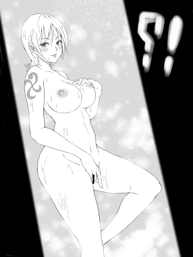Toon sex pic ##0001301355239 breasts female large breasts looking at viewer monochrome nami nipples nude one piece pixiv manga sample short hair tattoo zeroseed