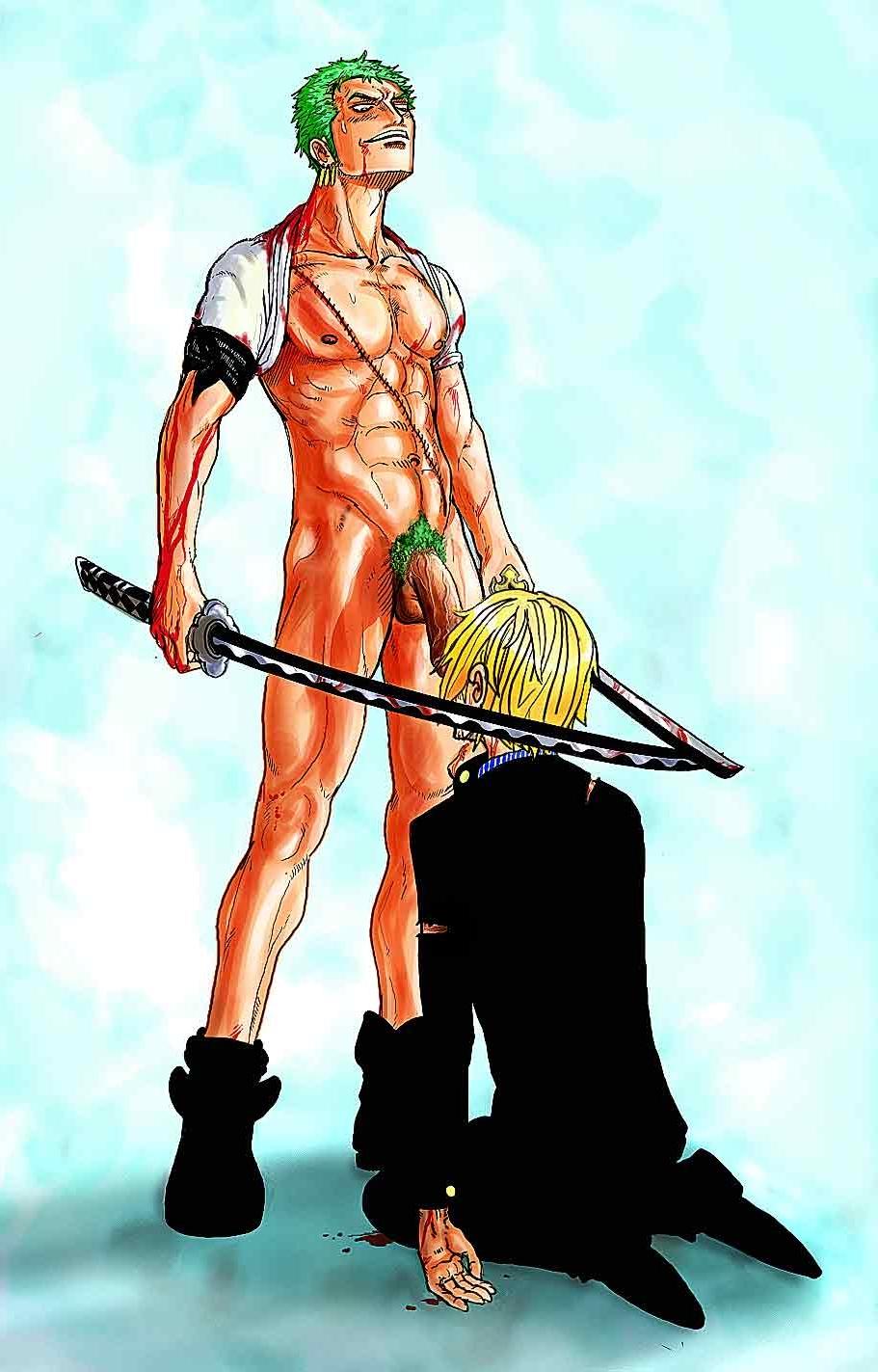 Toon sex pic ##0001301570698 2boys bara big penis blood gay muscle one piece oral pubic hair roronoa zoro ryldart sanji sword veiny penis yaoi