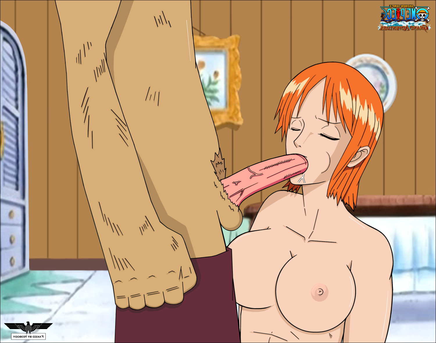 Toon sex pic ##000130616033 abs anthro breasts chopper closed eyes eyes closed fake fellatio female kneeling large penis male muscle tone muscular female nami nipples no bra nobody (artist) nude on knees one piece orange hair pants down penis perky breasts saliva short-hair small areola small nipples testicles tony tony chopper topless veiny penis