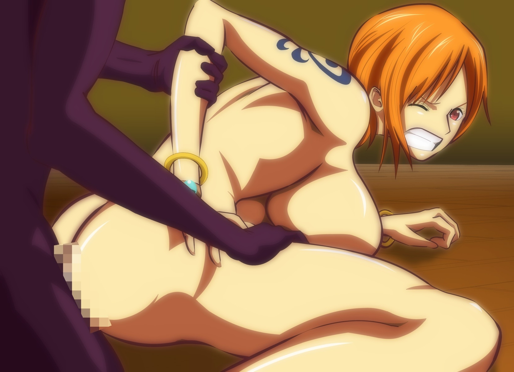 Toon sex pic ##0001301344782 female angry arm grab ass back bracelet breasts cahlacahla censored clenched teeth large breasts legs looking back nami nude one piece orange hair red eyess sex short hair sitting tattoo thighs vaginal penetration wince