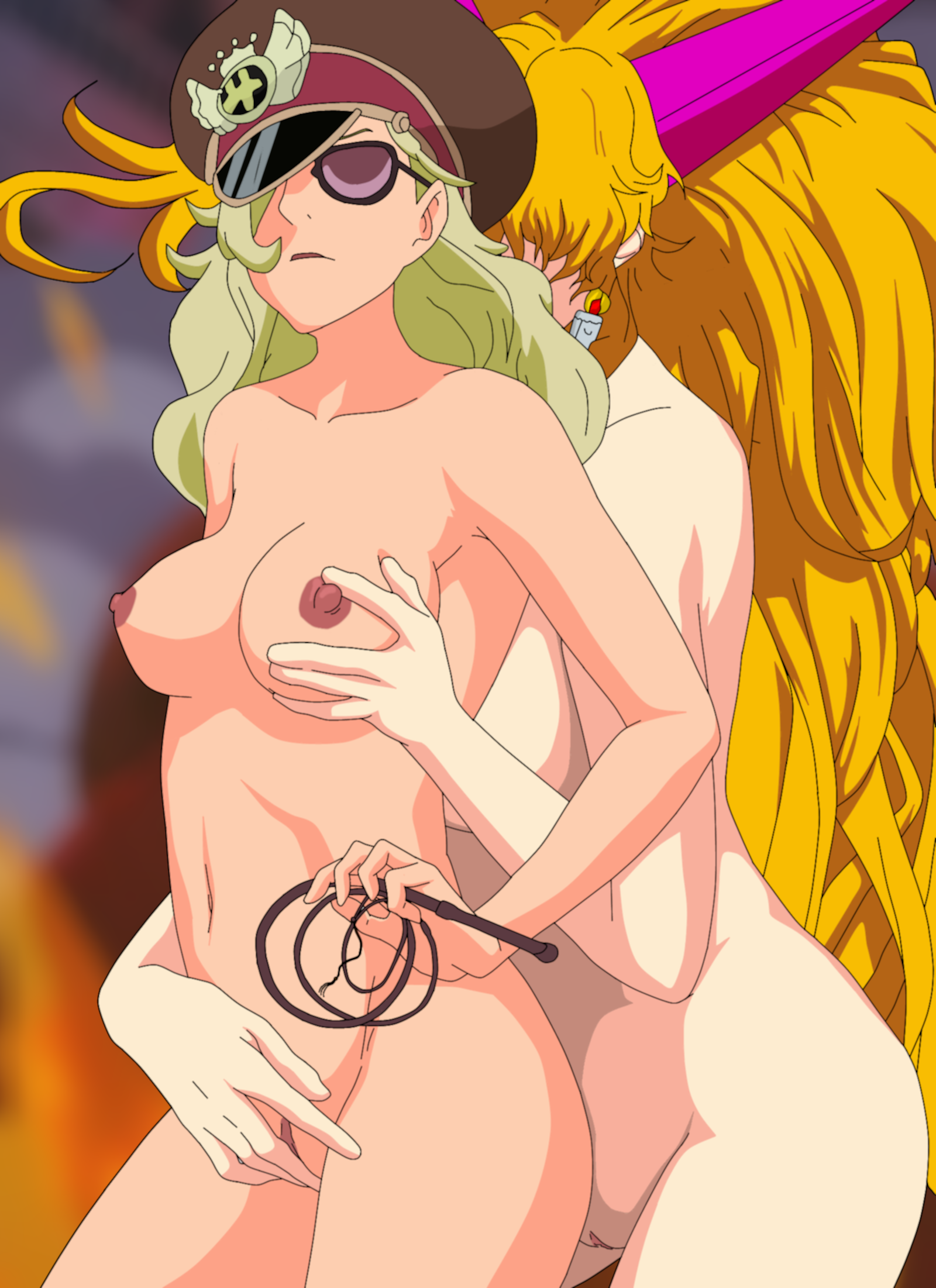 Toon sex pic ##000130497601 2girls breasts domino domino (one piece) highres yuri nipples one piece pussy sadi-chan starbag uncensored whip yuri