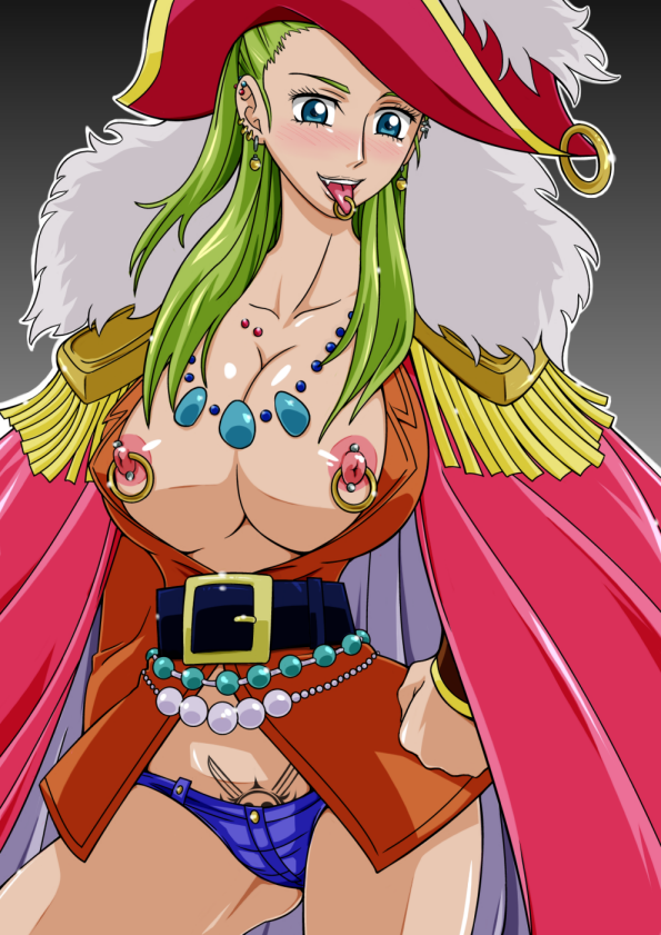 Toon sex pic ##000130472815 blush breasts coat earrings green hair hand on hips jewelry miss olive nipple piercing nipples no bra one piece panties piercing piercings pirate straw straw (artist) tattoo tongue tongue out tongue piercing underwear