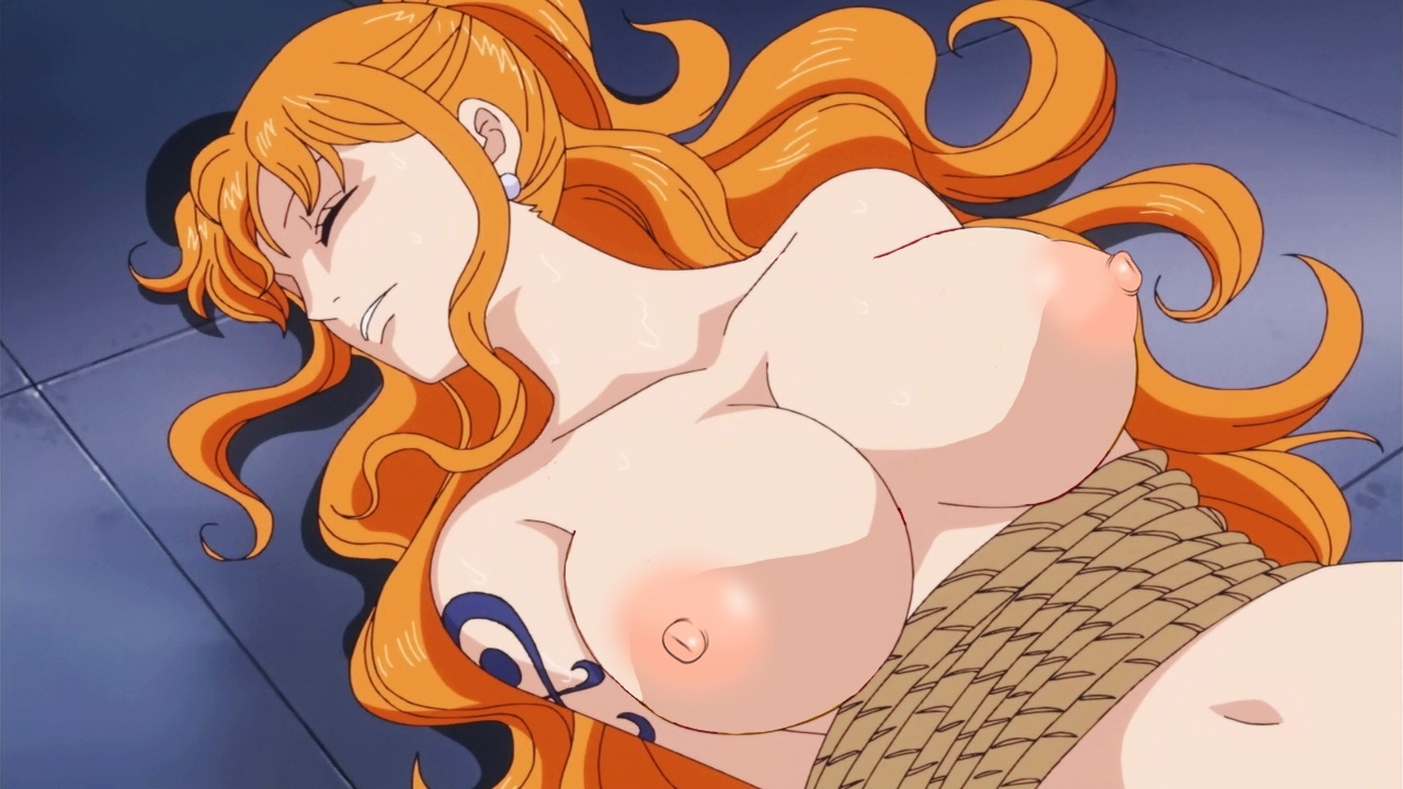 Toon sex pic ##0001301325552 bound breasts color female female only hair human lying nami nipples on back one piece orange hair rope solo tagme tattoo