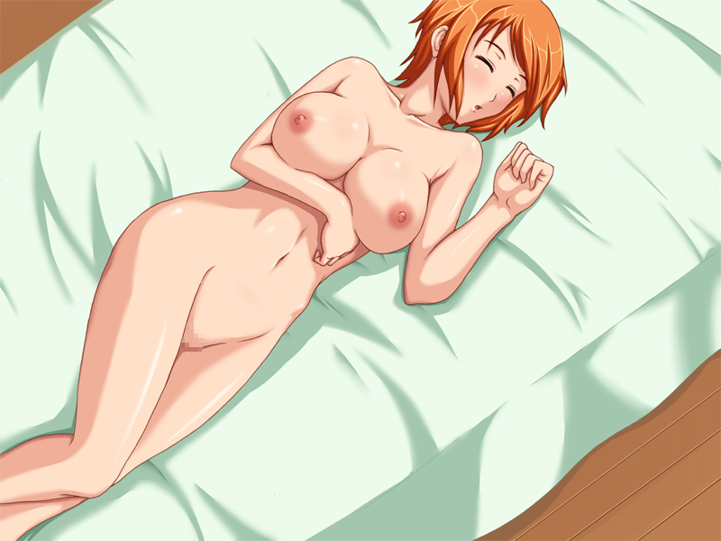 Toon sex pic ##000130431500 female blush breast hold breasts censored closed eyess dutch angle eyess closed from above indoors katase tomoya large breasts lying mosaic mosaic censoring nami navel nipples nude on back one piece open mouth orange hair pussy short hair sleeping solo