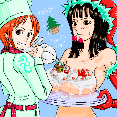 Toon sex pic ##000130427677 blush breast rest breasts carried breast rest chef cherry christmas elbow gloves food fruit gloves grin hat icing large breasts lowres mouth hold nami nico robin nude oekaki one piece orange hair smile sweatdrop toque tray v