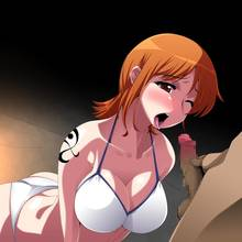 Toon sex pic ##00013091482 ariyon bikini blush breasts censored cleavage faceless faceless male highres large breasts nami one piece open mouth orange hair penis short hair solo swimsuit tattoo tongue wink