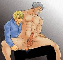 Toon sex pic ##00013090740 2boys anal blonde hair censored chair clothed on nude facial hair grey hair hair over one eye male nude on lap one piece penis sanji sex sitting smoker smoker (one piece) stubble unzipped yaoi