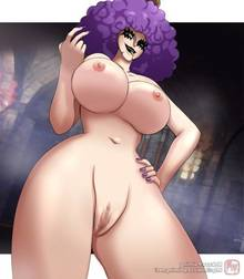 Toon sex pic ##00013066839 afro beige skin breasts brown eyes censored claws color emporio ivankov female female only front view hair hand on hip human large breasts looking at viewer mokusa nipples nude one piece open eyes open mouth purple hair pussy rule 63 solo tongue vulva