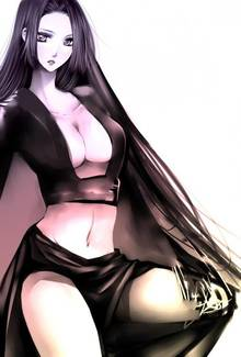 Toon sex pic ##00013062083 female black hair black skirt boa hancock breasts cleavage compression artifacts female highres long skirt midriff monochrome one piece resized side slit skirt solo