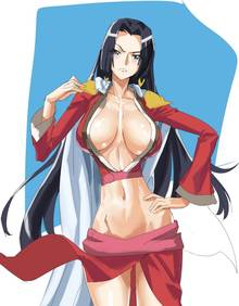Toon sex pic ##00013062066 angry blush boa hancock breasts cleavage hand on hip highres huge breasts one piece solo thigh gap