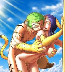Toon sex pic ##000130285828 animal ear artist request breast grab breasts feline feline from behind furry muscle nico robin nipples one piece outdoors outside pussy roronoa zoro sex tail tiger tongue yellow eyess