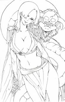 Toon sex pic ##00013061767 female boa hancock breasts cape cleavage earrings female highres horns long hair long skirt looking at viewer navel one piece outline salome (one piece) side slit skirt skull snake