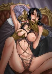 Toon sex pic ##00013048092 black hair breast squeeze breasts meguro fukuzou nico robin one piece pubic hair pussy spandam sweat uncensored
