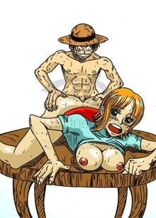 Toon sex pic ##000130258123 abs breasts clothes color female front view hat male monkey d luffy nami nipples nude one piece straight tagme