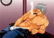 Toon sex pic ##000130242567 hand in pants male male only masturbation muscle one piece smoker solo