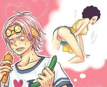 Toon sex pic ##000130297652 carrot glasses on head japanese kobi koby luffyzaki male marine monkey d. luffy one piece pink hair rule 63 thought bubble