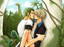Toon sex pic ##000130121912 2boys blonde hair blush bottomless dinosaur earrings green hair incipient kiss jewelry multiple boys one piece open shirt outdoors roronoa zoro sanji sweat yaoi zosan