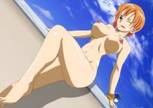 Toon sex pic ##0001301203827 female areolae bracelet breasts cloud erect nipples feet jewelry kyabakurabakufu large breasts legs looking at viewer nami naughty face navel nipples nude one piece orange hair pirate red eyess short hair sky smile solo standing thighs toes tongue tongue out wink
