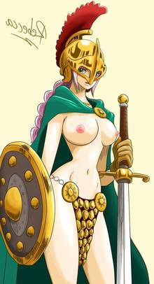 Toon sex pic ##0001301551662 armor bikini armor blush breasts brown eyes cape female gladiator helmet highres large breasts nipples one piece pink hair rebecca (one piece) shield sword topless warrior weapon