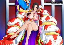 Toon sex pic ##0001301140470 female ass black hair boa hancock breasts cape crossed legs erection futanari nipples no bra one piece penis salome self paizuri sitting smile snake (animal) undressing vector witchking00 z