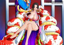 Toon sex pic ##0001301140469 female ass black hair boa hancock breasts cape crossed legs nipples no bra one piece salome sitting smile snake (animal) undressing vector witchking00 z