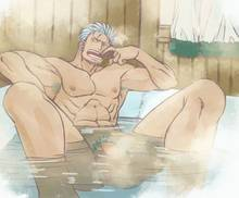 Toon sex pic ##0001301355094 armpit hair armpits bara bath biceps convenient censoring male masanori muscles nude one piece partially submerged smoker smoking solo solo male steam yaoi