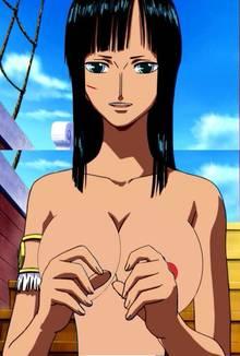Toon sex pic ##0001301126502 female breasts nico robin nipples one piece photoshop screencap
