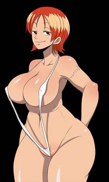 Toon sex pic ##0001301559807 blush breasts color female female only hair hips huge breasts human inusen nami one piece orange hair short hair smile solo standing